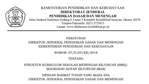 Struktur Kurikulum SMK (Perdirjen Dikdasmen No. 07/D.D5/KK/2018 tanggal 7 Juni 2018)